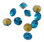 Point-back rhinestone Turquoise blue 4mm glue on 20-pack